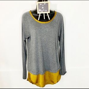 BORDEAUX ANTHROPOLOGIE LAYERED TOP GRAY GOLD SMALL